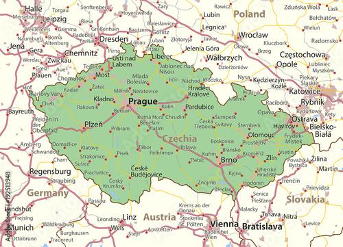 Wallpaper Mural Czechia-World-Countries-VectorMap-A