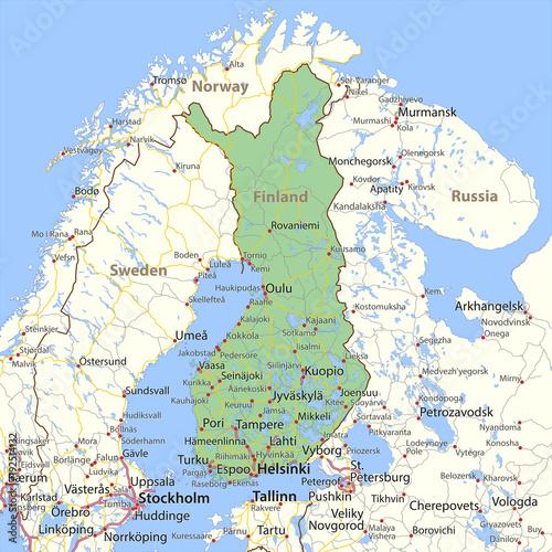 Canvas Print Finland-World-Countries-VectorMap-A