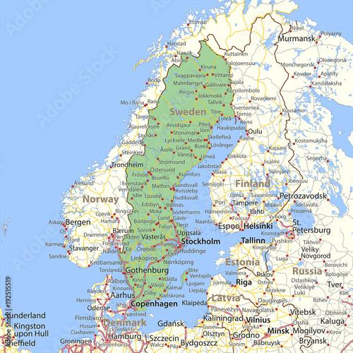 Wallpaper Mural Sweden-World-Countries-VectorMap-A