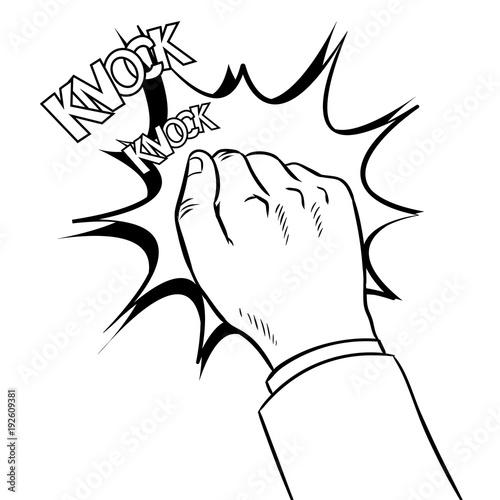 Leinwand Poster Hand knokning door coloring book vector