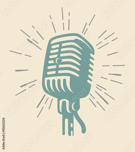 Fotografie, Obraz vintage microphone on beig