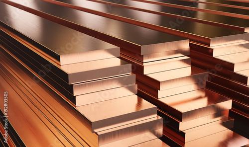 Fényképezés Warehouse of copper plates
