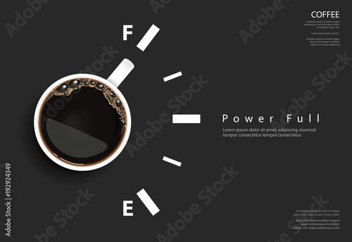 Fototapeta Kawa jako paliwo na czarnym tle z napisami do pokoju