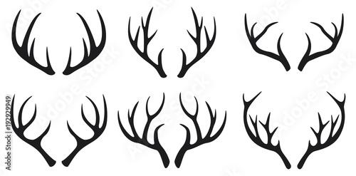 Fotografia Deer antlers black icons set on white background