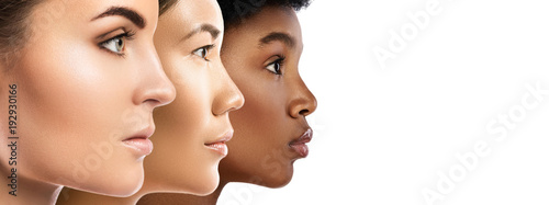 Valokuva Different ethnicity women - Caucasian, African, Asian.