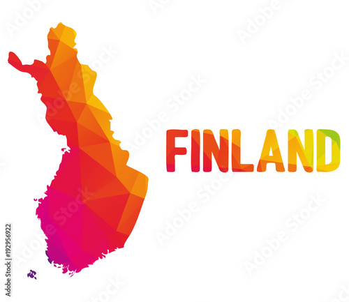 Photo Low polygonal map of Republic of Finland with sign Finland, both in warm colors