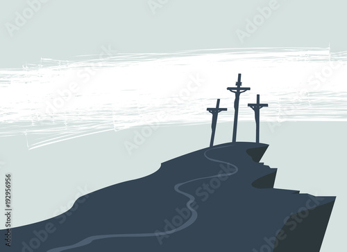 Vector banner on Easter or good Friday with the image of mount Calvary and three Fototapeta
