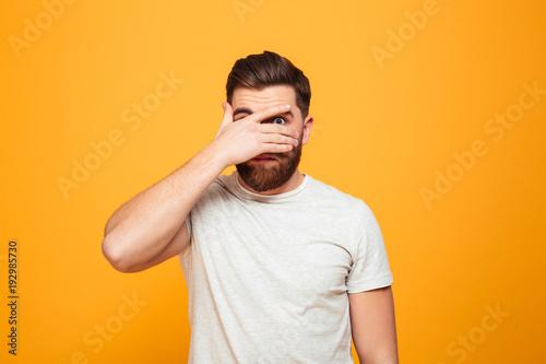 Fotografia Portrait of a scared bearded man