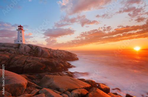 Beautiful Peggy Cove Light House with Sunset, Nova Scotia, Canada Fototapete