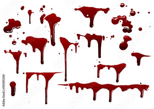 collection various blood or paint splatters,Halloween concept Fototapeta