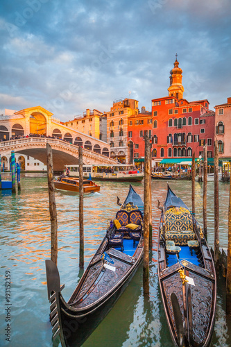 Canal Grande with Gondolas and Rialto Bridge at sunset, Venice, Italy