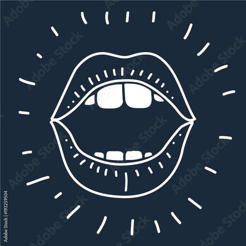 Obraz na płótnie cartoon vector outline illustration human mouth open