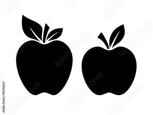 Fotografiet Two apple silhouette vector illustration