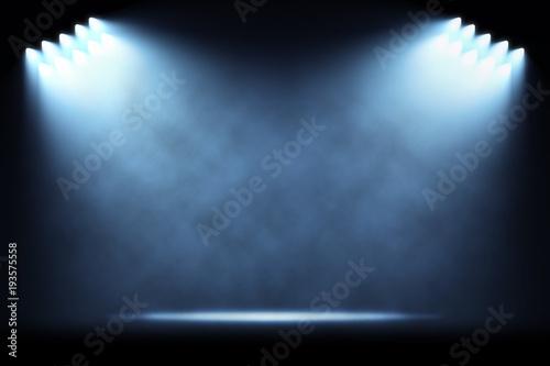 Rows of side spotlights illuminating empty stage Fototapeta