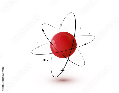 Fotografía Red atom with core, orbits and electrons isolated on white background