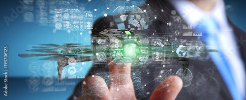 Businessman using modern drone 3D rendering