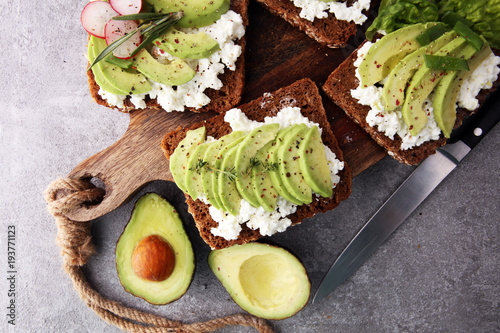 sliced avocado on toast bread with spices