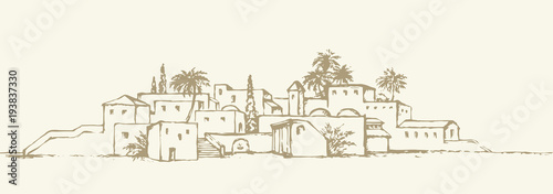 Foto City in a desert. Vector drawing