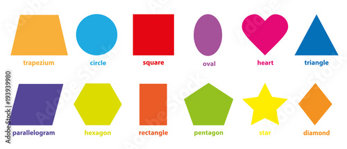 Obraz na plátne Basic geometric colorful 2D shapes collection