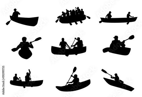 Stampa su Tela Kayaking and Rafting Silhouettes