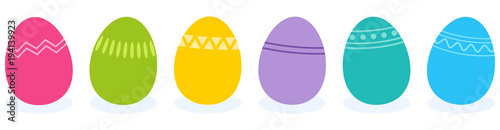 Simple vector illustration of six colorful flat design easter eggs with geometric pattern designs isolated on white background