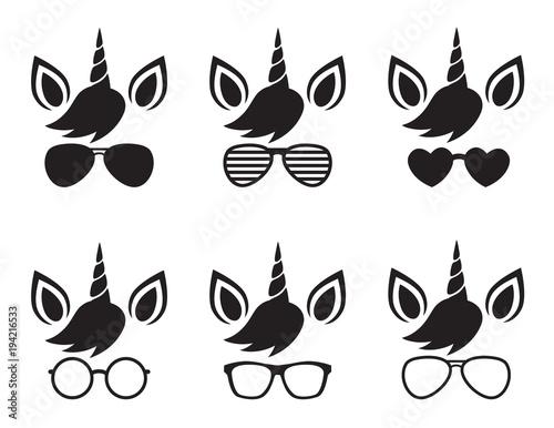 Cute unicorn wearing glasses and sunglasses face silhouette vector illustration Fototapeta