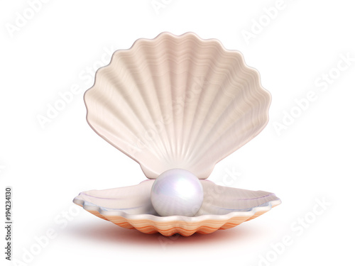 Fotografia Pearl inside seashell isolated on white background 3d rendering