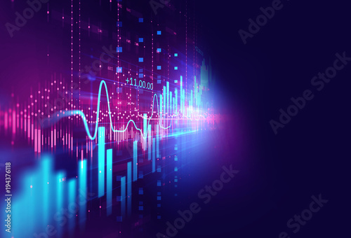 technical financial graph on technology abstract background Fototapeta