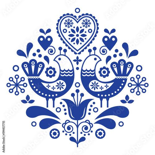 Fototapeta Scandinavian folk art pattern with birds and flowers, Nordic floral design, retr