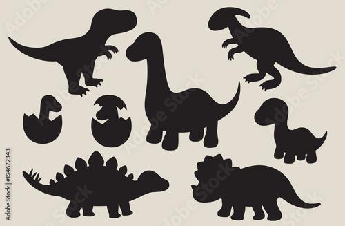 Wallpaper Mural Vector illustration of dinosaur silhouette including Stegosaurus, Brontosaurus, Velociraptor, Triceratops, Tyrannosaurus rex, and Spinosaurus