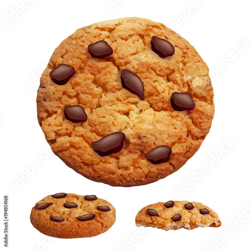 Canvas Print Chocolate chip cookies 3d photo realistic vector