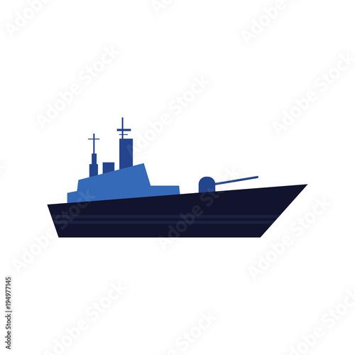 Vászonkép Flat style warship, battleship, armoured naval vehicle icon, vector illustration isolated on white background