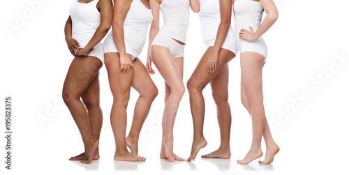 group of happy diverse women in white underwear Fototapeta