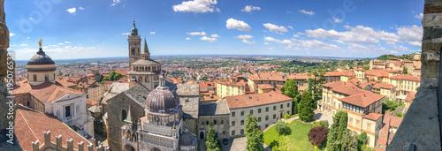 Canvas Print Bergamo Alta aerial panoramic view in summer season