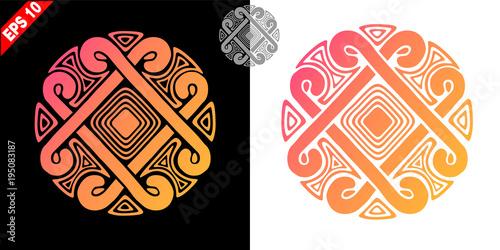 Photo The ancient solar symbol - a stylized sun in a circle (logo, emblem, amulet, sym