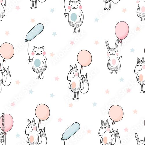 Naklejki na drzwi dla dzieci ze zwierzętami trzymającymi balony