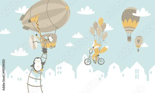 Graficzna ilustracja dla dzieci. Latające zwierzątka, balony, rowery.