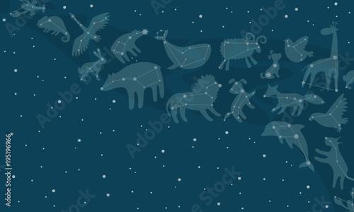 Graficzna ilustracja dla dzieci. Niebo i konstelacje z gwiazd.