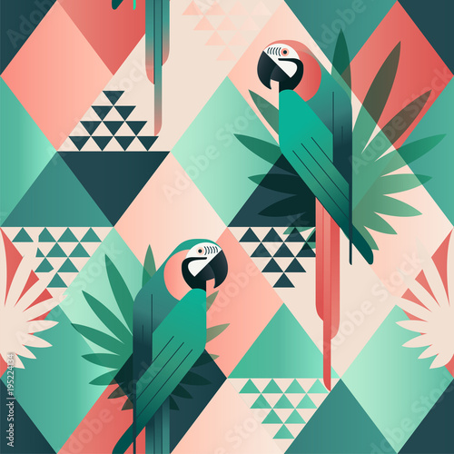 Fototapeta premium Egzotyczna plaża modny wzór, ilustrowany patchwork kwiatowy wektor tropikalnych liści. Dżungla papugi czerwone i zielone. Tapeta mozaika w tle.