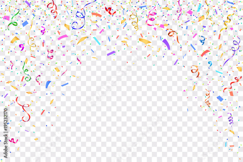 Festive design. Border of colorful bright confetti isolated on transparent background. Party decoration frame for birthday, anniversary, celebration. Vector illustration, eps 10.