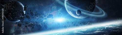 Panoramic view of planets in distant solar system 3D rendering elements of th...