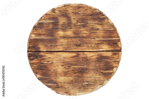 Fotomural old wooden handmade wood vintage antique cutting board isolated on white backgro