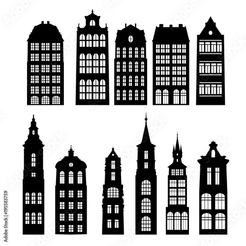 Leinwand Poster vector silhouettes of houses