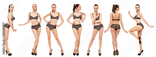 Stampa su Tela Collage of models in black lingerie