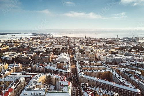 Canvas Print Helsinki, Finland - February 21, 2017: Aerial View Fredrikinkatu