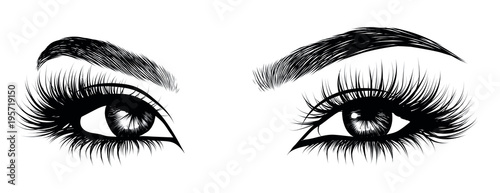 Fotografia Illustration of woman's sexy luxurious eye with perfectly shaped eyebrows and full lashes