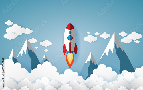 rockets glide over the mountains with views over the beautiful clouds