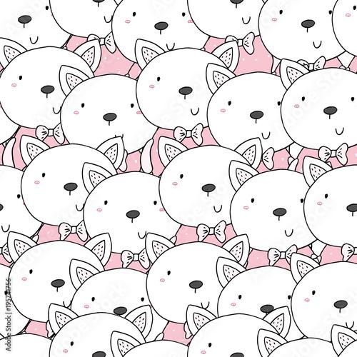 Plakat z kocich głów z różowym akcentem