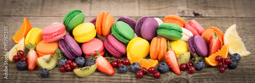 Fotografie, Obraz Colorful French macaroons