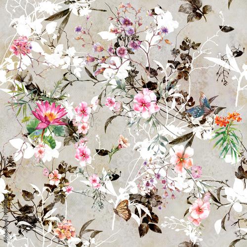 Plakat z Pieknym kwiecistym wzorem na popielatym tle